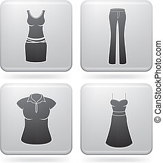 Womans Clothing theme icons set covering all things from a...