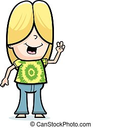 Hippie Peace Sign - A happy cartoon hippie boy giving the...