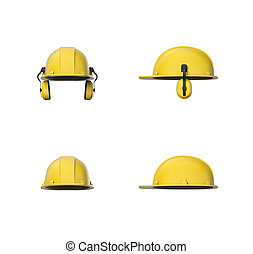 Rendering set of yellow hard hat or construction helmet with...