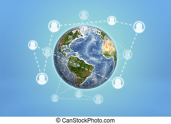 Planet Earth enveloped by social network icons connected...