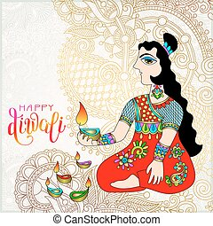 Happy Diwali gold greeting card with ethnic women and hand...