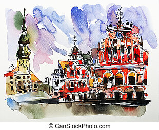 watercolor sketch painting of old town Riga Latvia top view...