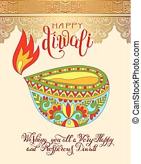 Happy Diwali greeting card with hand written inscription to...