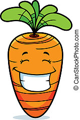 Carrot Smiling - A cartoon orange carrot happy and smiling.