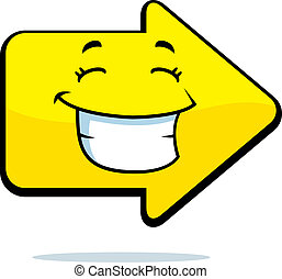 Arrow Smiling - A cartoon yellow arrow happy and smiling.