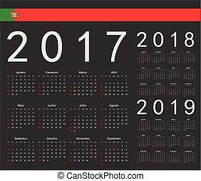 ポルトガル語, セット, カレンダー,  2017, ベクトル, 黒, 年,  2019,  2018
