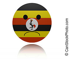 Uganda sad icon with reflection illustration
