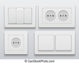 Vector modern power socket and light switch icon