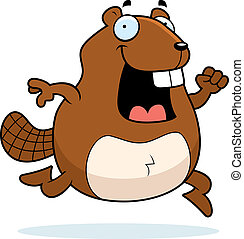 Beaver Running - A happy cartoon beaver running and smiling