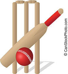 Cricket Set - a cricket ball and bat and wickets