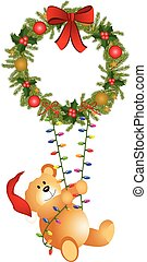 Teddy bear swinging - Scalable vectorial image representing...