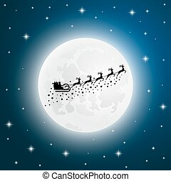 Santa Claus goes to sled reindeer of the moon - Santa Claus...
