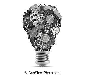 Lightbulb mechanisms of gears. 3d rendering - Big bulb light...