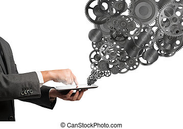 Mechanism of the business web - Businessman touch a tablet...