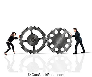 Teamwork of businesspeople work together to a system of...