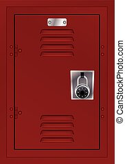 Red Locker and Combination Lock Illustration - A door to a...
