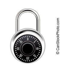 Realistic Combination Lock Illustration - A realistic metal...