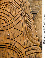 Wooden Carving - Part of a wooden carving on a walkway...