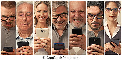 People with smartphone. - Set of people faces texting on...