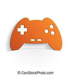 gamepad paper icon style full vector