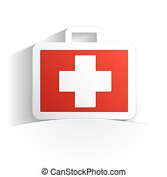 first aid kit paper style full vector