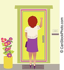 A Woman Knocking on the door