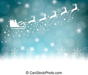 Santa Claus rides in a sleigh in harness on the reindeer on...