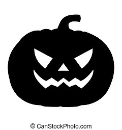 Silhouette of a terrible evil pumpkin on a white background,...