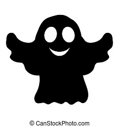 Silhouette ghost Halloween party, vector illustration paty