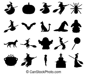 Silhouettes set for Halloween party, vector illustration