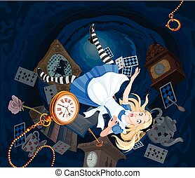 Falling Alice - Alice is falling down into the rabbit hole