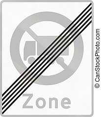 Road sign used in Denmark - End of no lorry zone.
