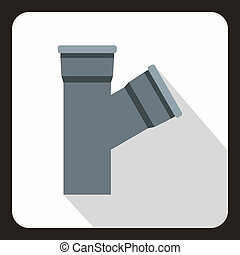 Plastic pipe connection icon, flat style - icon in flat...