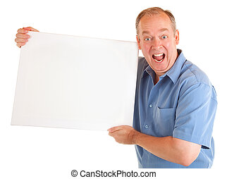 Man Holding a Blank White Sign - A man is holding and...