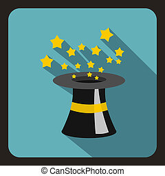 Magician hat icon, flat style - Magician hat icon in flat...