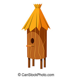 Wooden beehive icon, cartoon style - Wooden beehive icon in...