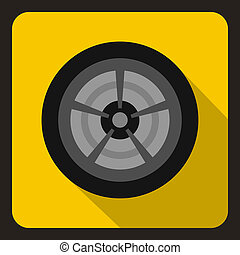 Car wheel icon, flat style - icon in flat style on a yellow...