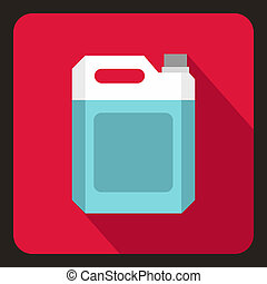 Plastic jerry can icon, flat style - icon in flat style on a...