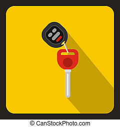Car key with remote control icon, flat style - icon in flat...