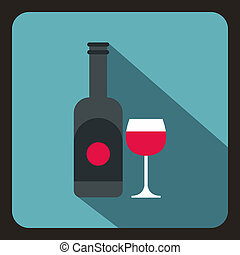 Bottle of wine and glass icon, flat style - icon in flat...