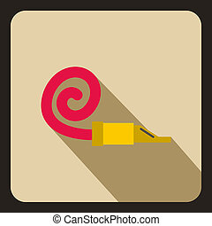Party blower icon, flat style - icon in flat style on a...