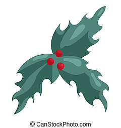Holly berry Christmas symbol icon, cartoon style - Holly...