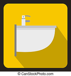 Bidet icon in flat style - icon in flat style on a yellow...