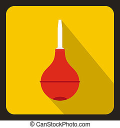 Enema icon, flat style - Enema icon in flat style with long...