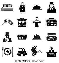Hotel icons set, simple style - Hotel icons set in simple...
