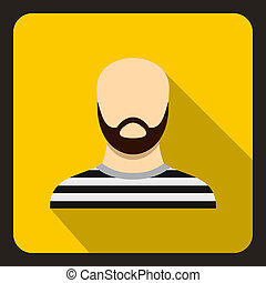 Bearded man in prison garb icon, flat style - icon in flat...