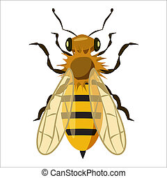 Insects bee icon, cartoon style - Insects bee icon in...
