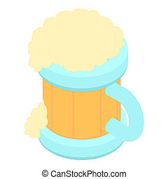 Beer in a wooden mug icon, cartoon style - Beer in a wooden...