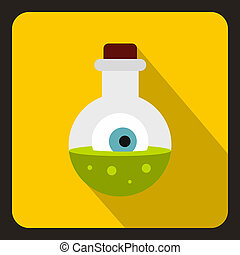 Bottle with potion and eye icon, flat style - icon in flat...