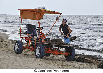 The car for garbage collection from the beach. Cleaning on...